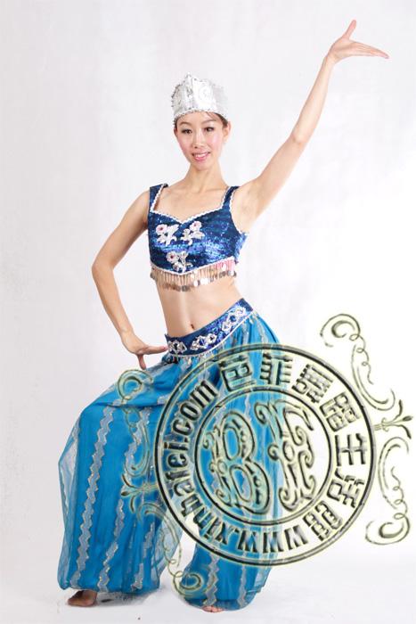 蓝色印度服装_印度 肚皮舞_服装展示_北京舞蹈服装
