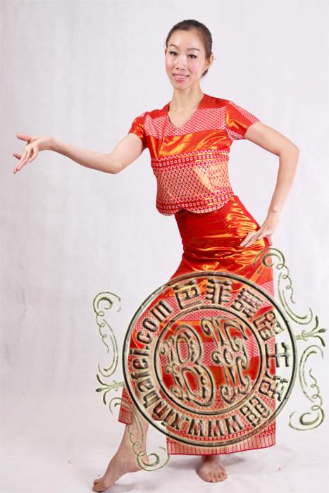 红色半袖 傣族服装_傣族苗族彝族_服装展示_北京舞蹈