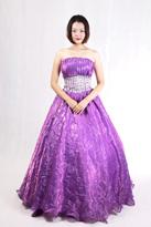 紫色水钻晚礼服