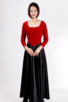 红黑丝绒领唱服