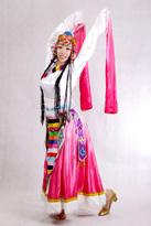 粉白渐变藏族服装