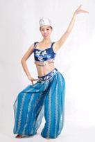 蓝色新疆舞蹈服装