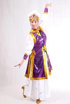 紫色亮片蒙古服装