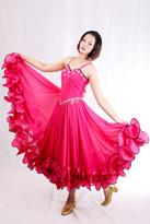 粉色吊带 国标舞裙