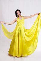 黄色舞裙 国标舞裙