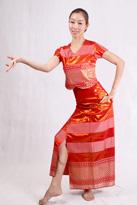 红色半袖 傣族服装