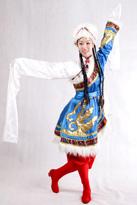 蓝色短款藏族服装