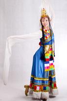 蓝色长款 藏族服装