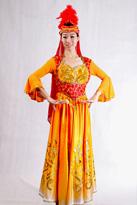 橙红羽毛 新疆服装