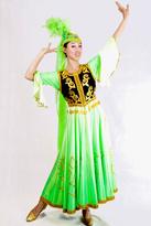 绿色羽毛 新疆服装