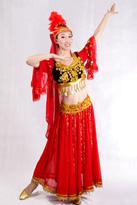 红色分身新疆舞蹈服装