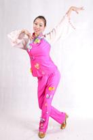 粉色氨纶 汉族舞蹈服