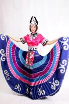 粉色彝族舞蹈演出服装