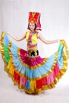 黄色无袖 彝族大舞裙