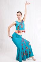 蓝色无袖 傣族舞蹈服