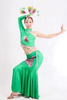 绿色单边袖 傣族演出