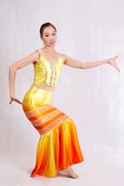 黄色真丝 傣族演出服