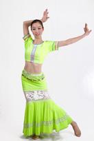 黄绿色半袖 傣族舞蹈