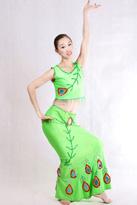 无袖绿色 傣族演出服