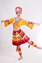 橙色苗族 舞蹈演出服