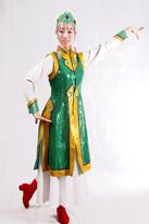绿色亮片 蒙古演出服