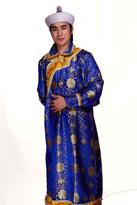 蒙古长袍蓝色 演出服