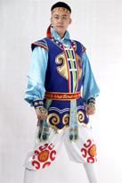 新款蓝色 蒙古舞蹈服