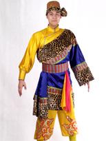 蓝黄色 藏族演出服装