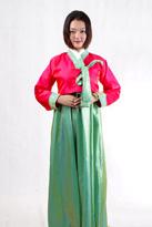 粉绿色 朝鲜族舞蹈服