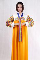 橙色 朝鲜族演出服装