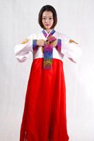 红色 朝鲜族舞蹈服装