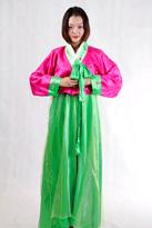 绿粉色 朝鲜族舞蹈服