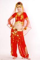 红色印度肚皮舞蹈服