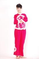 粉色白毛汉族舞蹈服