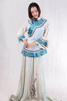 蓝色中式唐装