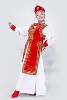 红色长袍蒙古服装