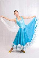蓝色白边国标舞裙