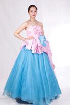 蓝粉清新 晚礼服