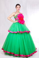 绿粉 长款晚礼服