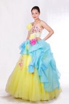 黄蓝 长款晚礼服
