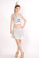 银亮片现代舞蹈服装