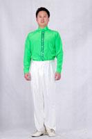 男士绿色现代舞服装