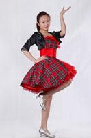 女士红格子现代舞服装