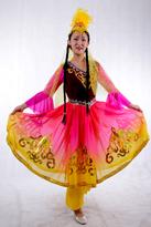 新疆舞蹈服装 粉黄过