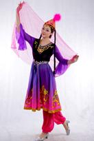 新疆舞蹈服装 紫粉过