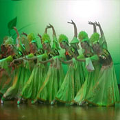 绿新疆民族舞蹈服装