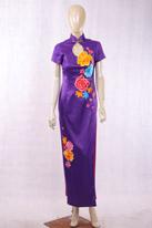 走秀款紫旗袍