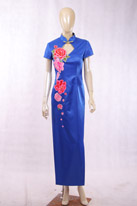 礼仪款 宝蓝色旗袍