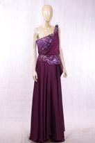 紫色长款晚礼服