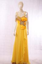 黄色长款晚礼服